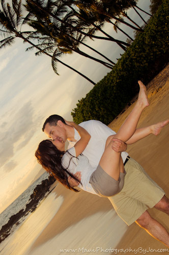 photographers in maui with couple at sunset