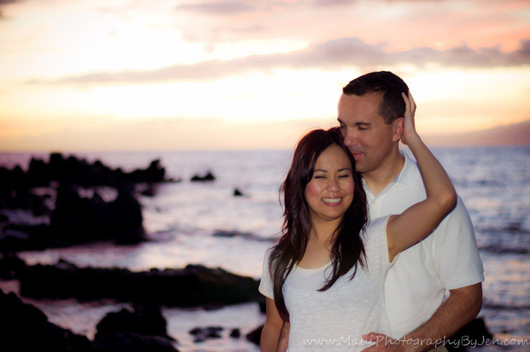 photographers on maui with couple on the beach