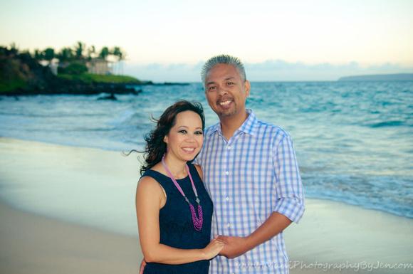 maui photographer with couple by the beach