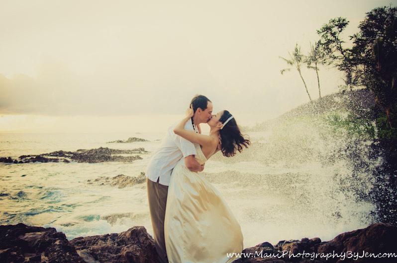maui wedding photographer at the beach