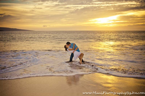maui photographers couple at sunset in ocean