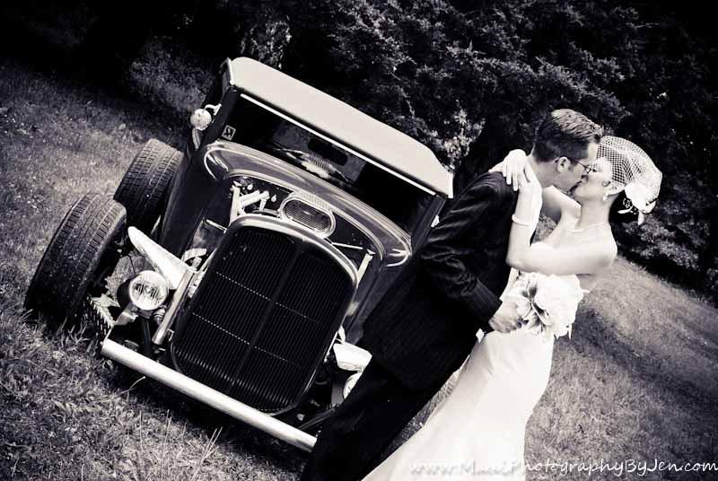 maui wedding photographer with bride and groom on car