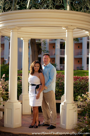 maui photographer with couple in gazebo at the grand wailea