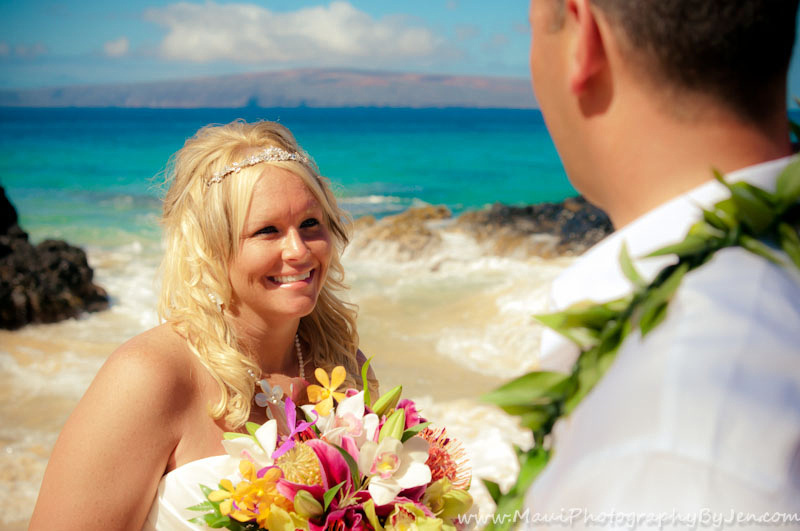 maui wedding photography of bride and groom