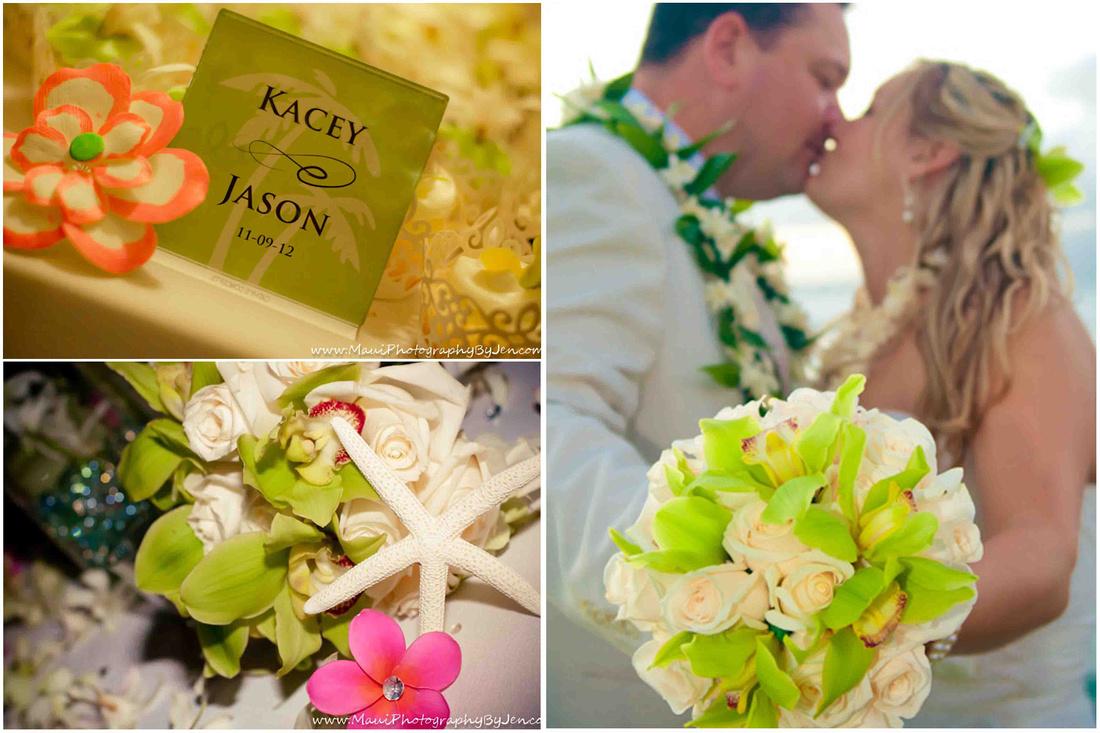 maui wedding photographers with details of wedding