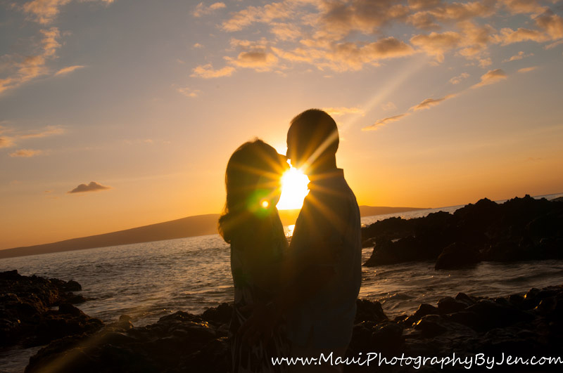 maui photographers at sunset with couple