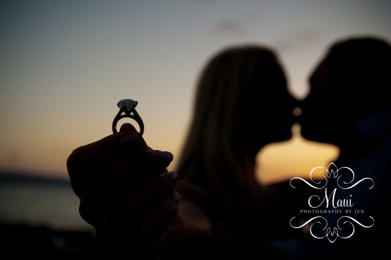 photography in maui with honeymoon couple at sunset