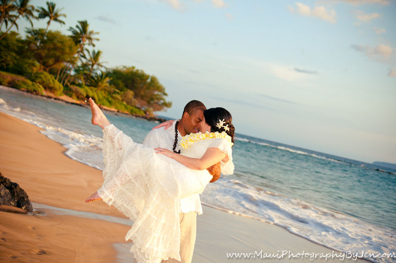 maui wedding photographer with couple in love