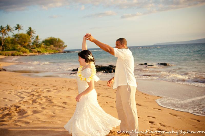 maui wedding photography dancing bride