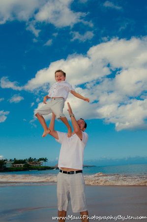 father and son play in maui family photography