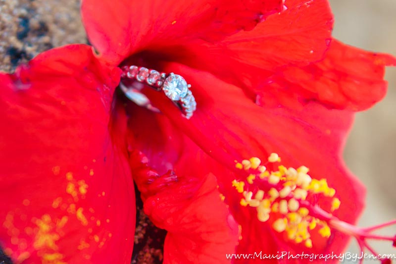 maui photographer with flower and wedding ring