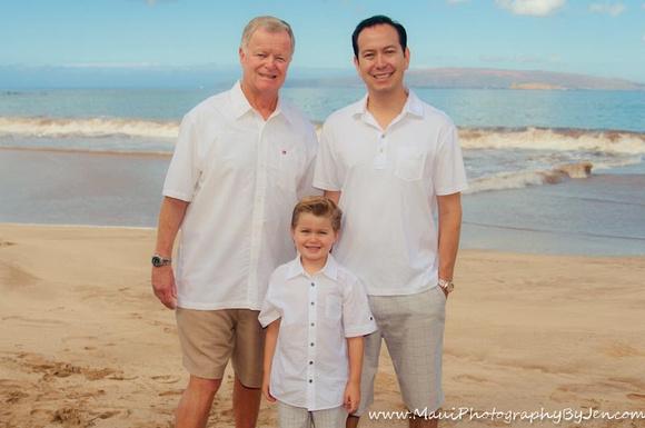 grandpa, father, son at maui beach by photographer