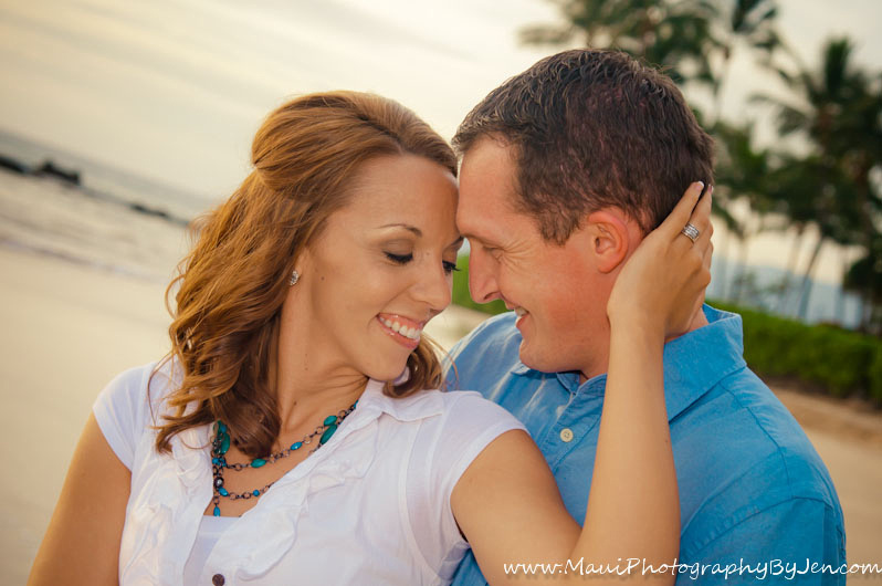 maui beach photography with engaged couple