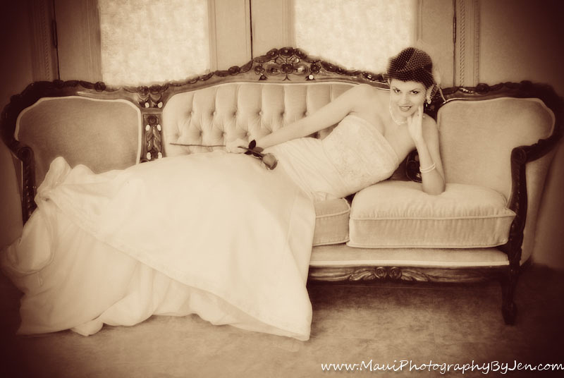 maui wedding photographer with bride on antique couch