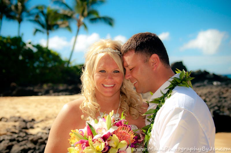 maui wedding photographer with couple in kaanapali
