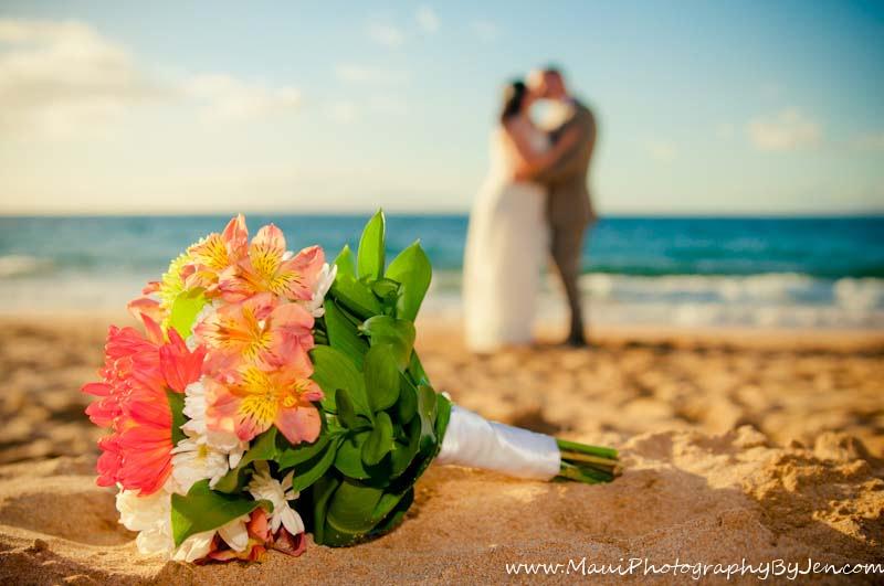 maui wedding photographers flowers and couple