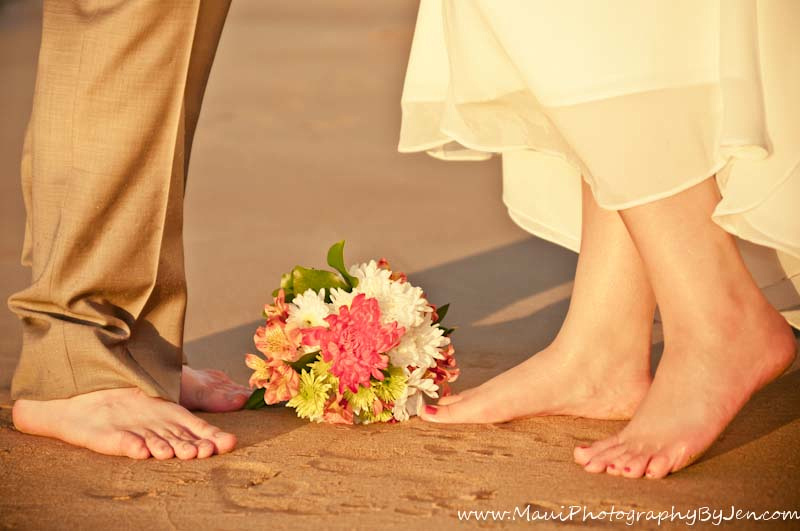 wedding photography in maui of feet and flowers