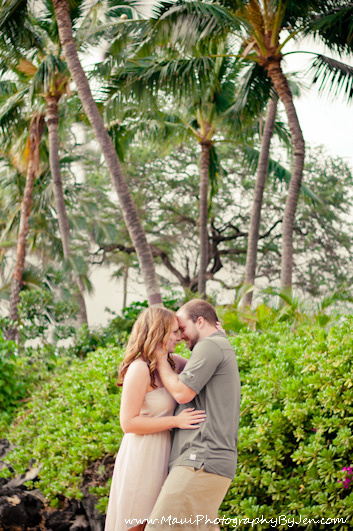 maui photography with couple laughing with palm trees