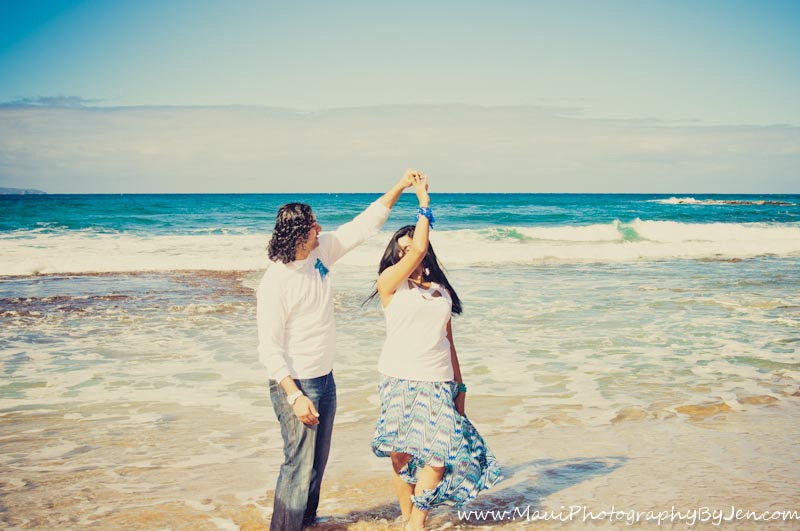 maui photographer with couple dancing on the beach