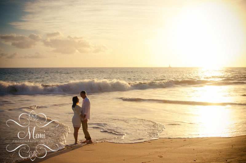 maui photographers with couple and sunset