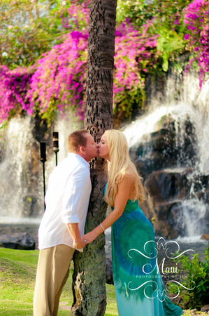 maui photographer at grand wailea with engaged couple