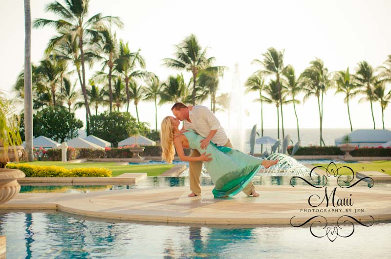 maui photographers at grand wailea with couple on honeymoon
