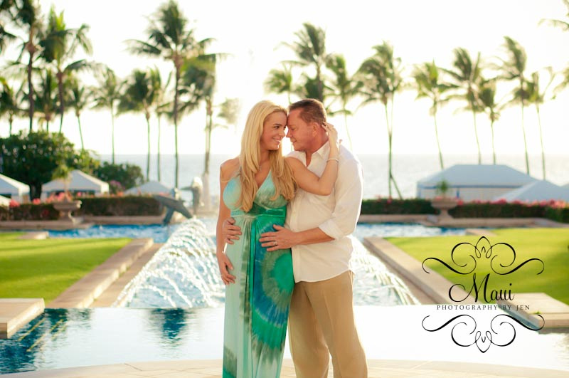 photographer in maui at grand wailea resort and couple